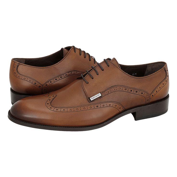 Skopin - Ανδρικά δετά παπούτσια Guy Laroche από δέρμα με δερμάτινη φόδρα και δερμάτινη σόλα.  Διατίθεται σε χρώμα Ταμπά και Μαύρο.
