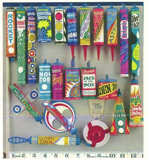 Standard fireworks, 1973 - memories of waiting for my dad to get home from work so he could set the fireworks off. He once lit a rocket that went up - hit a tree branch and came straight back down - narrowly missing his head.