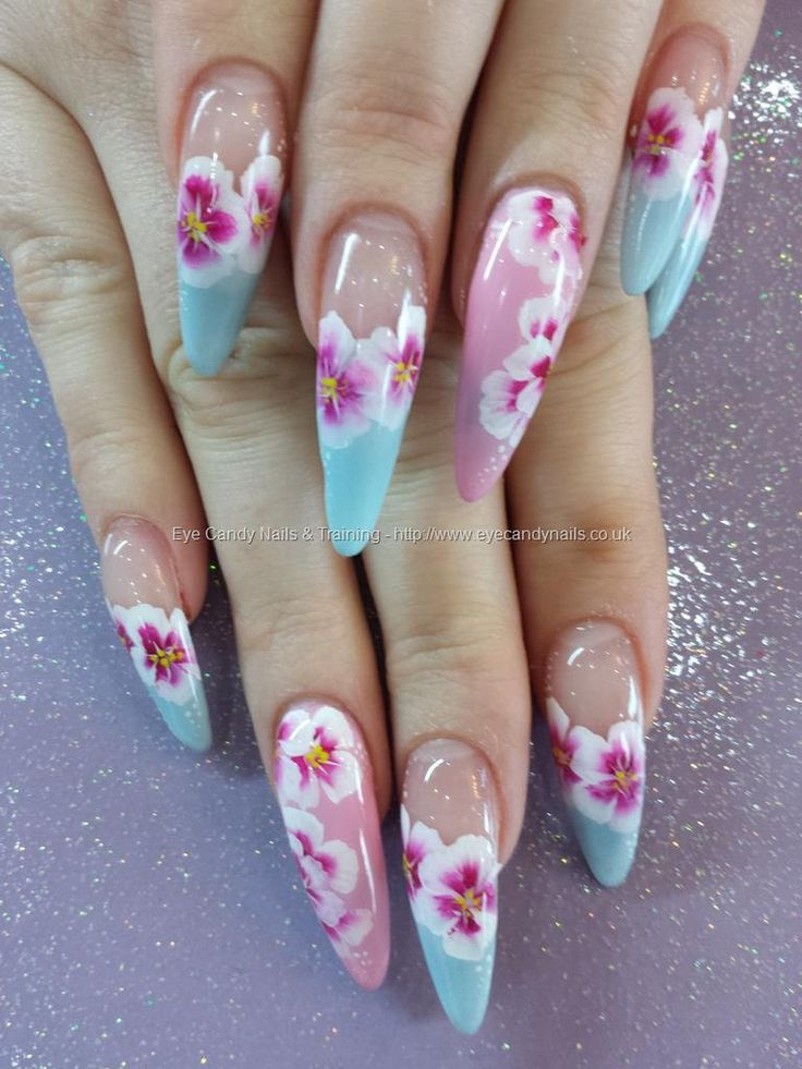 Pink and blue with one stroke flower nail art