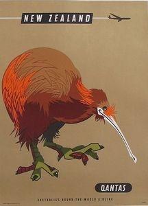 Vintage Qantas Flights To New Zealand Poster