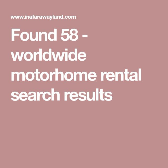 Found 58 - worldwide motorhome rental search results