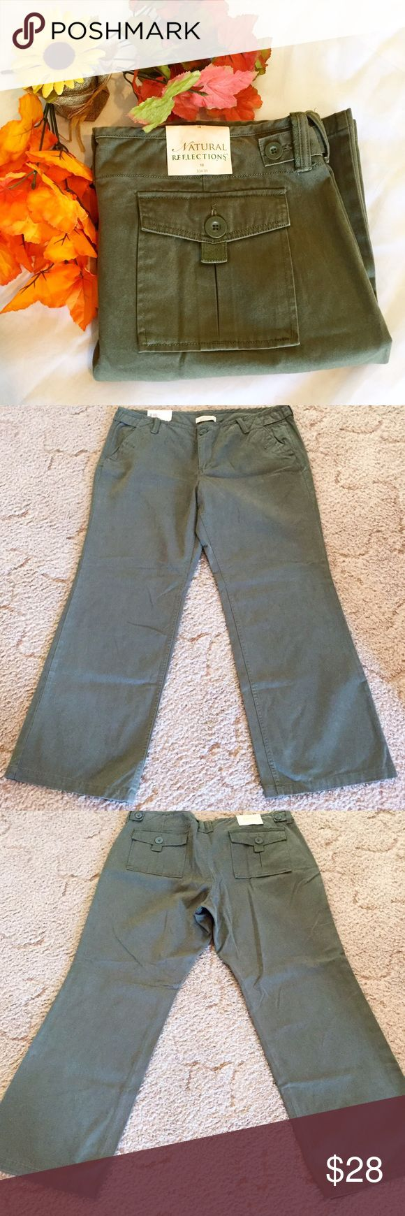 """🎉HP🎉NWT • Olive Green Plus Size Khakis NWT • Natural Reflections • Olive Green Plus Size Khaki Pants • Size 18 • 19.5"""" waistline • 10.5"""" rise • 31.5"""" inseam • 40.5"""" waistline to pants leg hemline • 100% Cotton • Very Little Stretch to fabric. Reasonable offers considered. 🚫trades/offline transactions. 🛍Bundle to save 10% • 3+ listings. Thank you🌷 Natural Reflections Pants Straight Leg"""