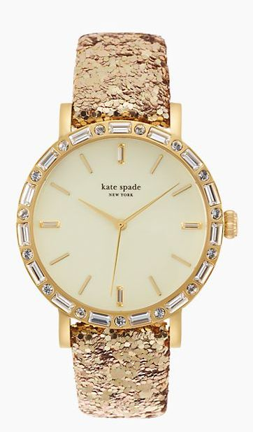 Glittery gold watch by kate spade new york? Yes, please! http://rstyle.me/n/v9a4n2bn
