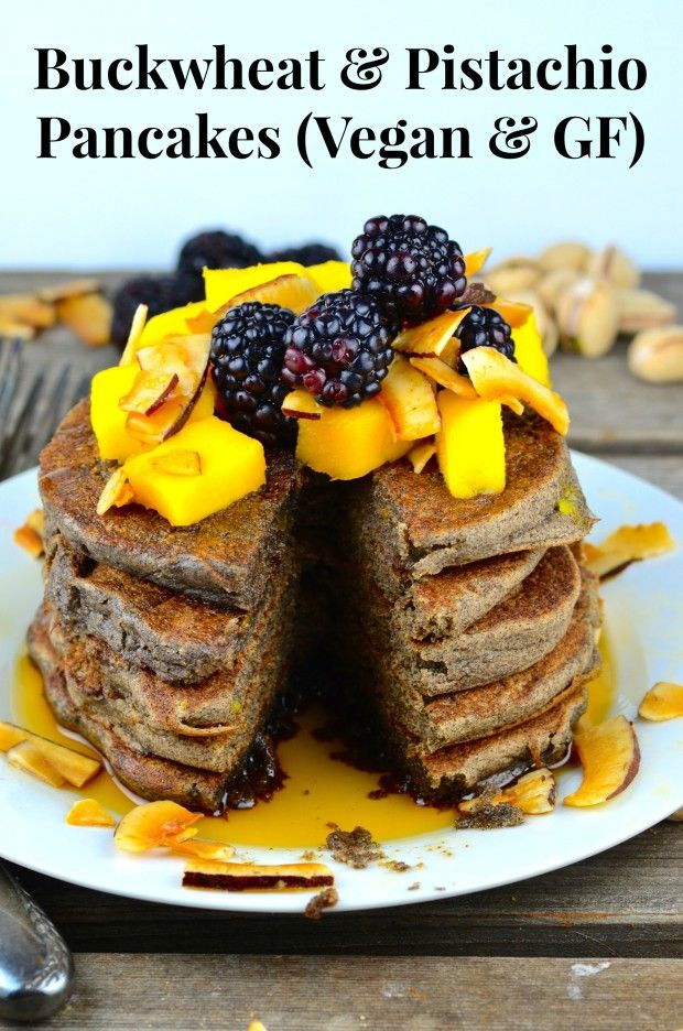 Look Forward to Breakfast! with these Buckwheat Pancakes with Mangoes and Blackberries - Vegan and Gluten Free -