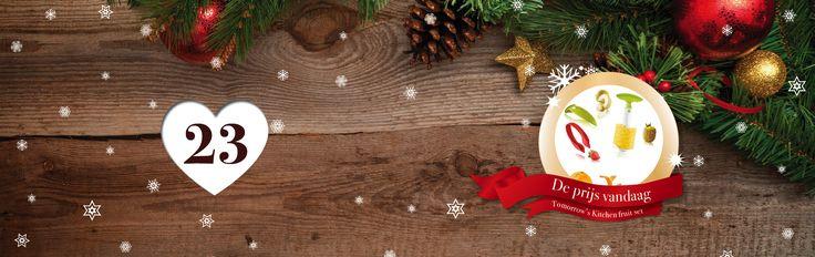 🎄🎁✨ Tel af naar #Kerst met de adventskalender vol #prijzen van SpaDreams!     Het drieëntwintigste vakje van onze Wellness - #Adventskalenderactie bevat het volgende cadeautje: een '' Tomorrow's Kitchen Fruit set '' 👌  Deze Fruit Set mag niet ontbreken in uw keukenla!   Meloenen, aardbeien en allerlei citrusvruchten worden met deze handige producten snel en gemakkelijk klaargemaakt!    Wil jij deze fantastische prijs winnen? Het enige wat je hoeft te doen is SpaDreams kerstkoekjes zoeken…