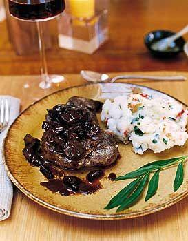 filet mignon w/truffled mushroom ragout (use whole tenderloin, roast, slice into medallions)