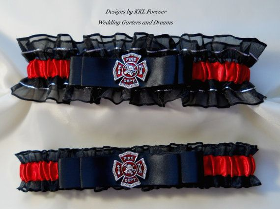 Firefighter Wedding Garters Crystal Maltese by ElegantGarterShop, $50.00