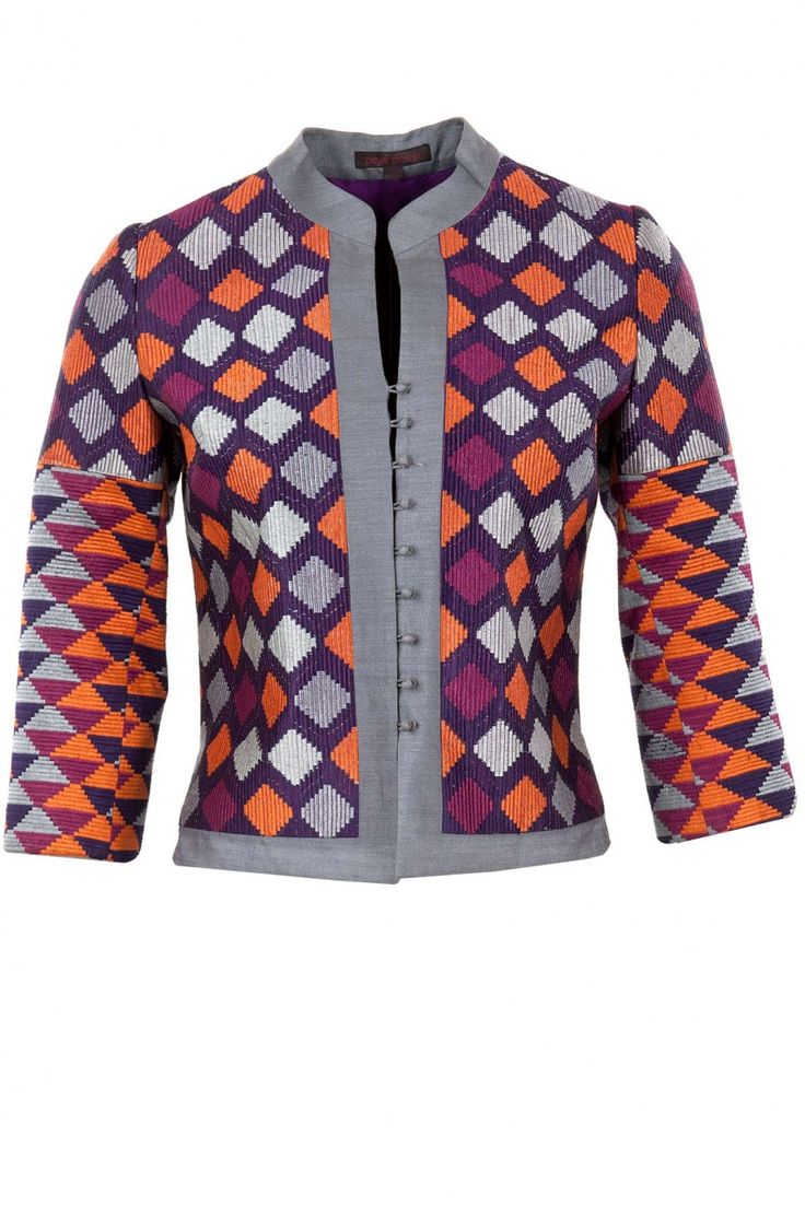 Multicolour geometric embroidery jacket available only at Pernia's Pop-Up Shop.