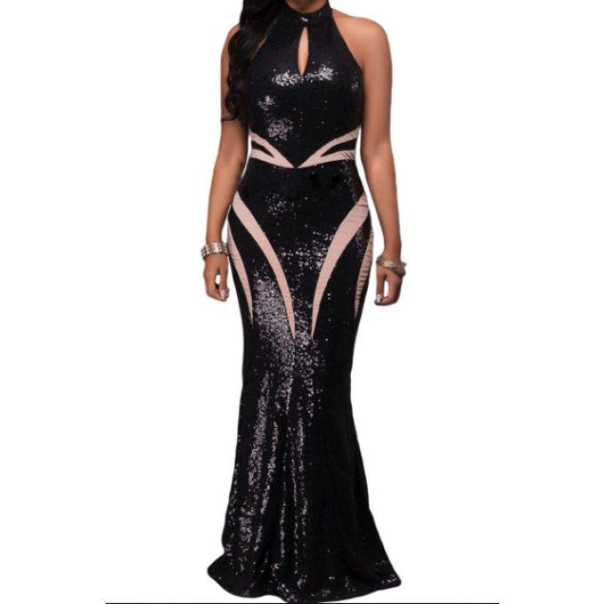 Longue robe de soirée effet paillette  - bestyle29.com