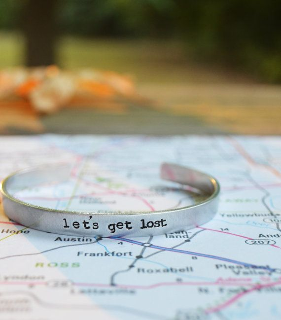 Let's Get Lost Cuff Bracelet Travel Traveler by CynicalRedhead