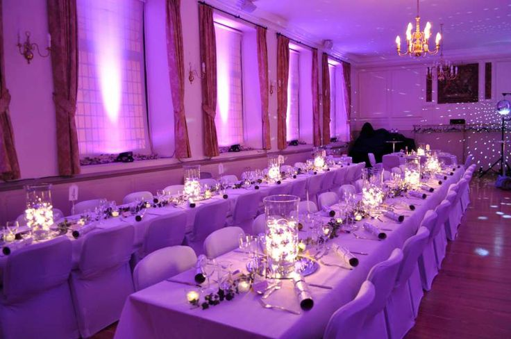 Uplighting for the intimate Amersham Market Hall for festive wedding lighting