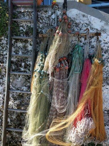 Reti da pesca sull'isola Pescatori, Lago Maggiore