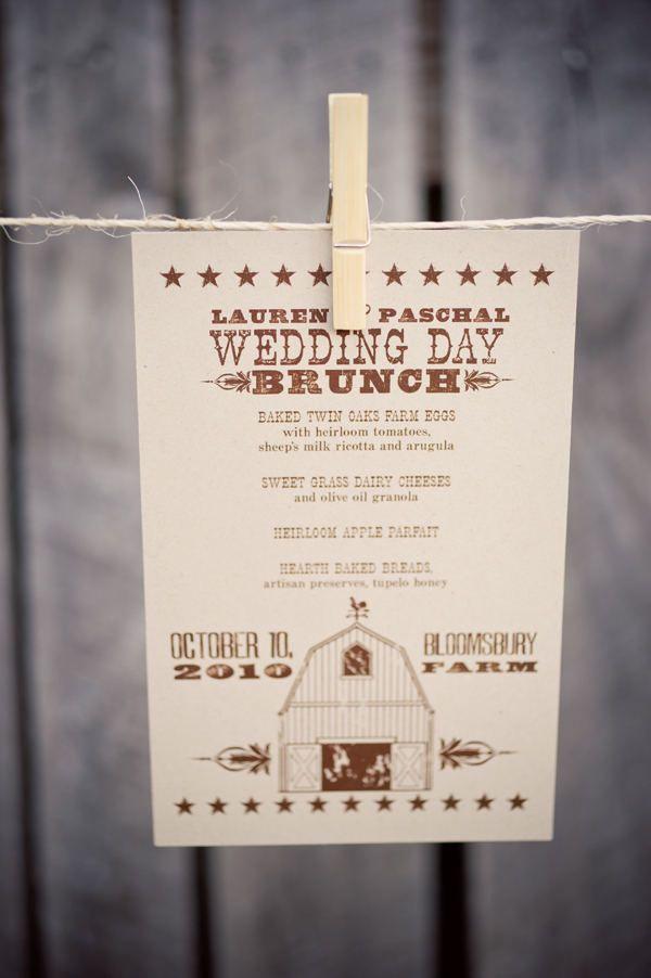 next day wedding invitations%0A Wedding day brunch menu card for a vintage  farm wedding I Custom by Nico  and Lala