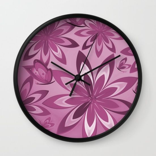 A purple floral #clock, perfect for #bedroom, #livingroom or #kitchen from #society6 https://society6.com/product/spring-in-purple-ilu_wall-clock#33=284&34=285