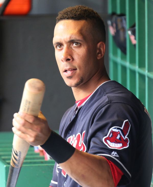 Cleveland Indians Michael Brantley waits on the bench for his at bat in the fourth inning against the Detroit Tigers, July 8, 2017, at Progressive Field. Indians won 4-0