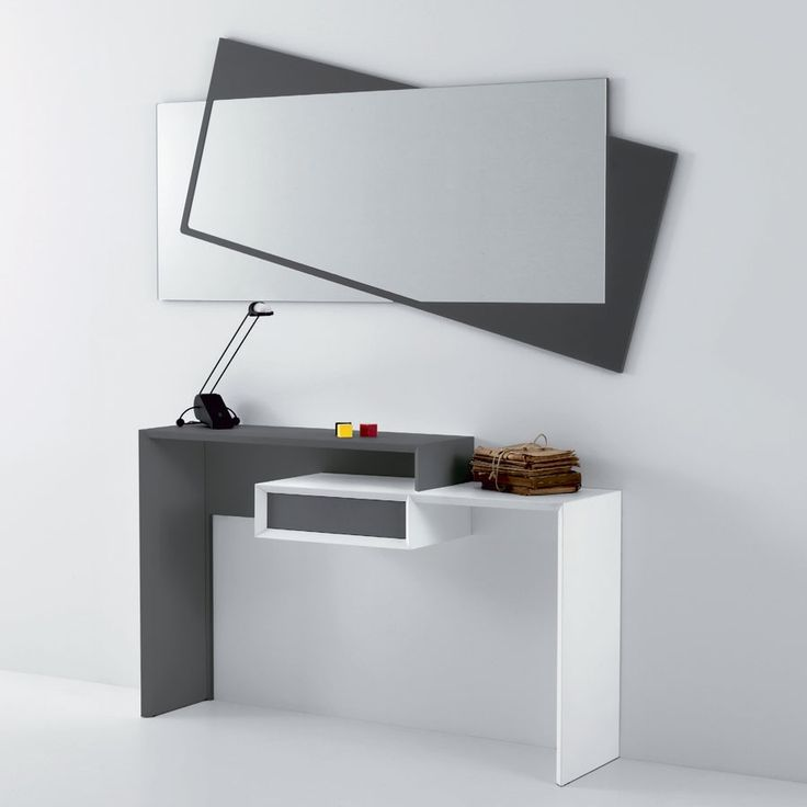 Smart 350 Console with drawer in mat lacquered mdf, available in bicoloured couplings white/ash grey or sand beige/dove grey.