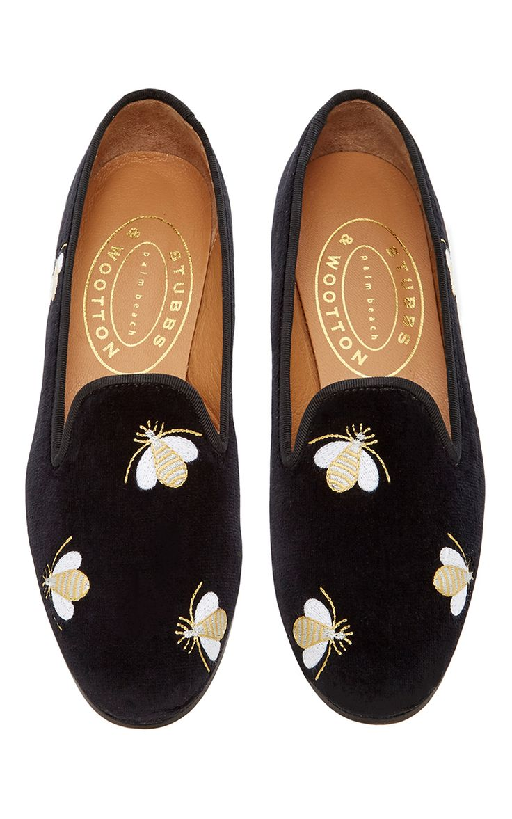 Bees Black Slipper by STUBBS & WOOTTON for Preorder on Moda Operandi