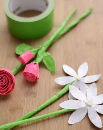 Duct Tape Flowers, with step by step photos. Fun for spring!