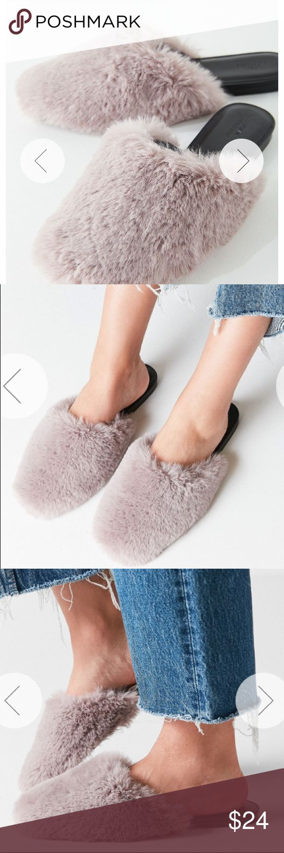 NWT Faux Fur Grey Mule Slides Slip into luxe looks with these seriously glam faux fur mule slides, available exclusively at UO. Featuring a fluffy, faux fur upper with a rounded toe and flat rubber sole.  Content + Care - Polyester, rubber - Spot clean - Imported Urban Outfitters Shoes Mules & Clogs