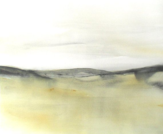 Original Watercolor Abstract Landscape painting, Large Contemporary Seascape Watercolor, Modern landscape Watercolor Neutral abstract.