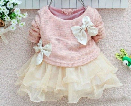 READY TO SHIP Girls Pink Dress Ivory Dress Newborn Girls