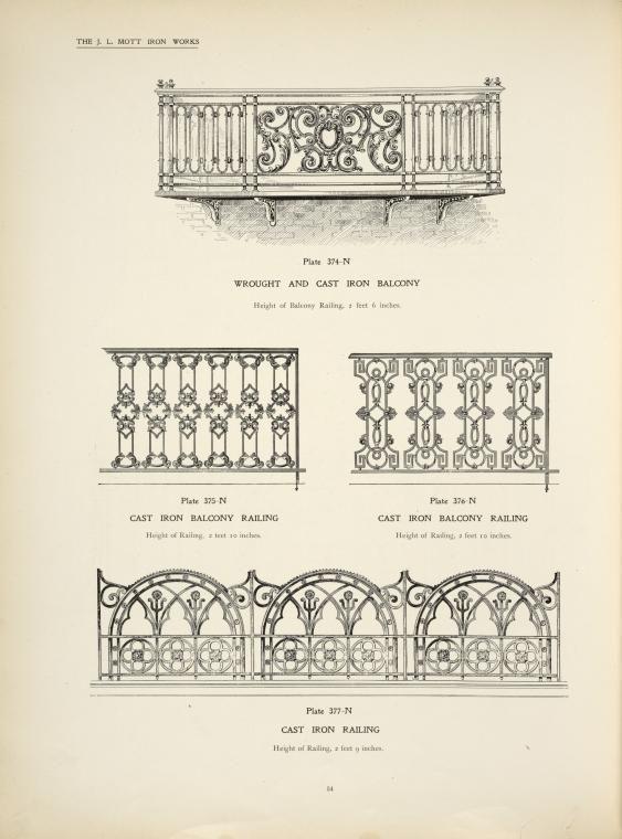 Wrought and cast iron balcony. Cast iron balcony railing. Cast iron railing, ...