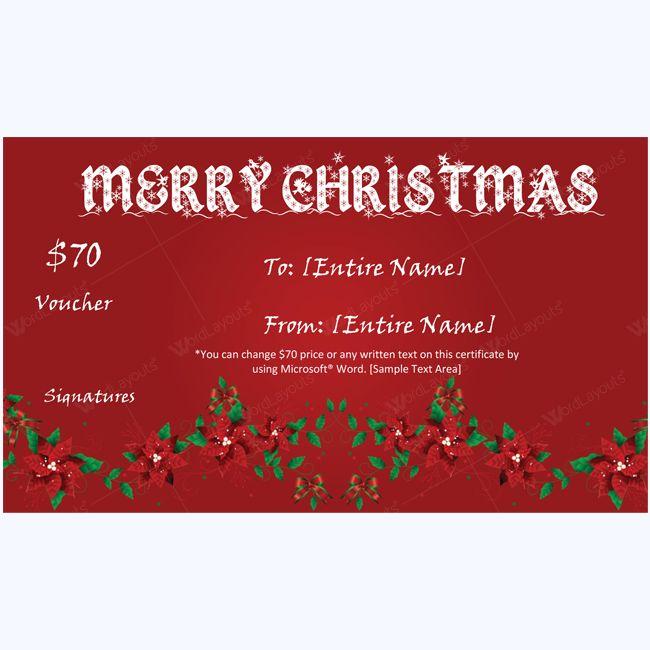 Beautiful Christmas Gift Certificate Template #certificate #giftcertificate #christmasgiftcard #merrychristmas #christmas
