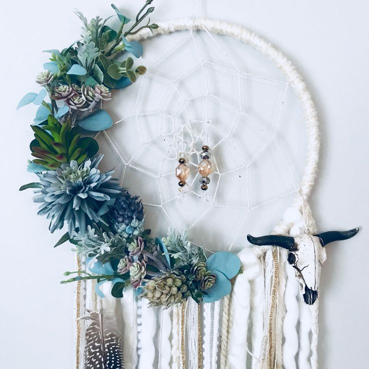 Succulent Dreamcatcher Boho Wall Decor Floral Dream