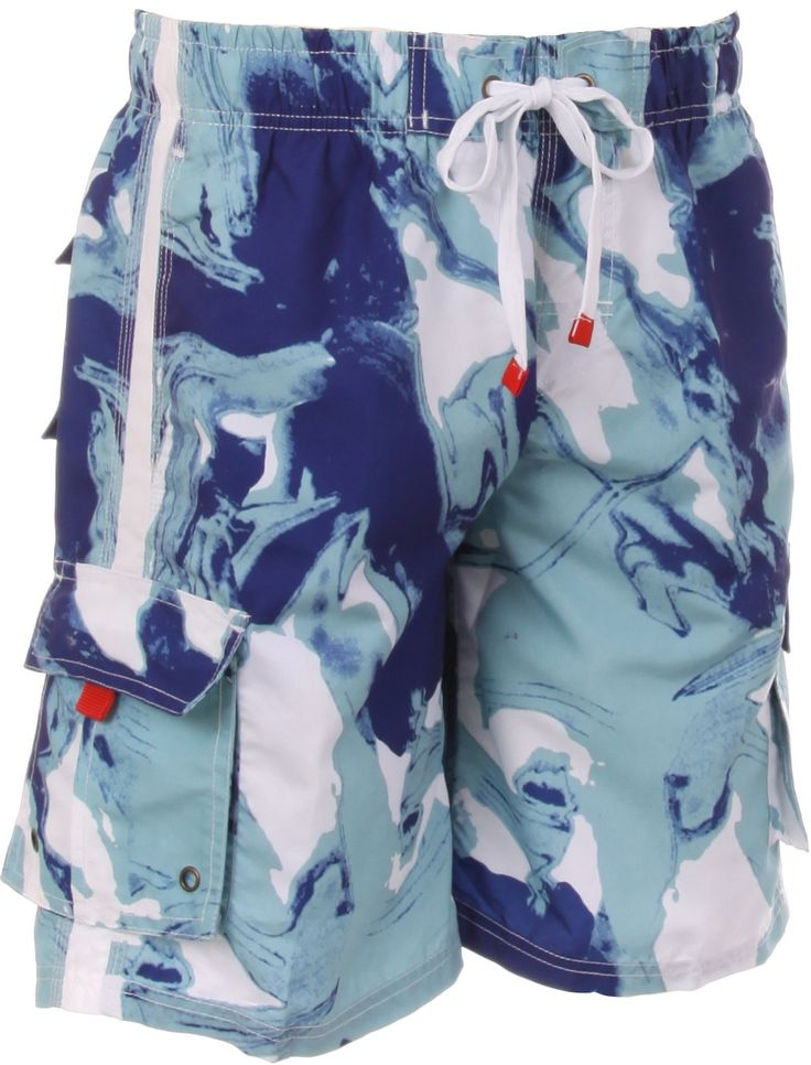 Sakkas Mens Multi Color Wave Design Skate Surf Board Short / Swim Trunks