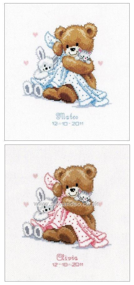 Buy+Teddy+and+Blanket+Birth+Sampler+Cross+Stitch+Kit+Online+at+www.sewandso.co.uk