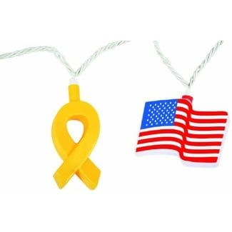 Camco 42657 Patriotic Yellow Ribbon and Flag Party Light - yellow, red and blue, Yellow/Red And Blue yellow/ red and blue