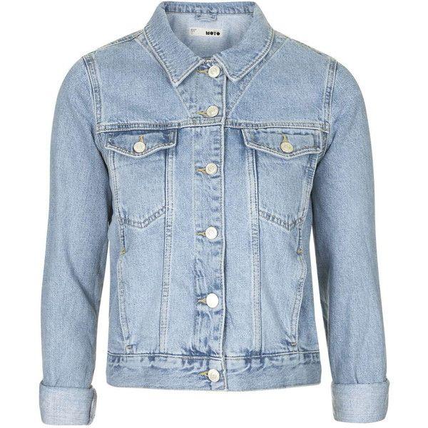 TOPSHOP MOTO Bleach Denim Jacket found on Polyvore featuring outerwear, jackets, casacos, blue, topshop, blue jackets, jean jacket, blue jean jacket and bleached denim jacket