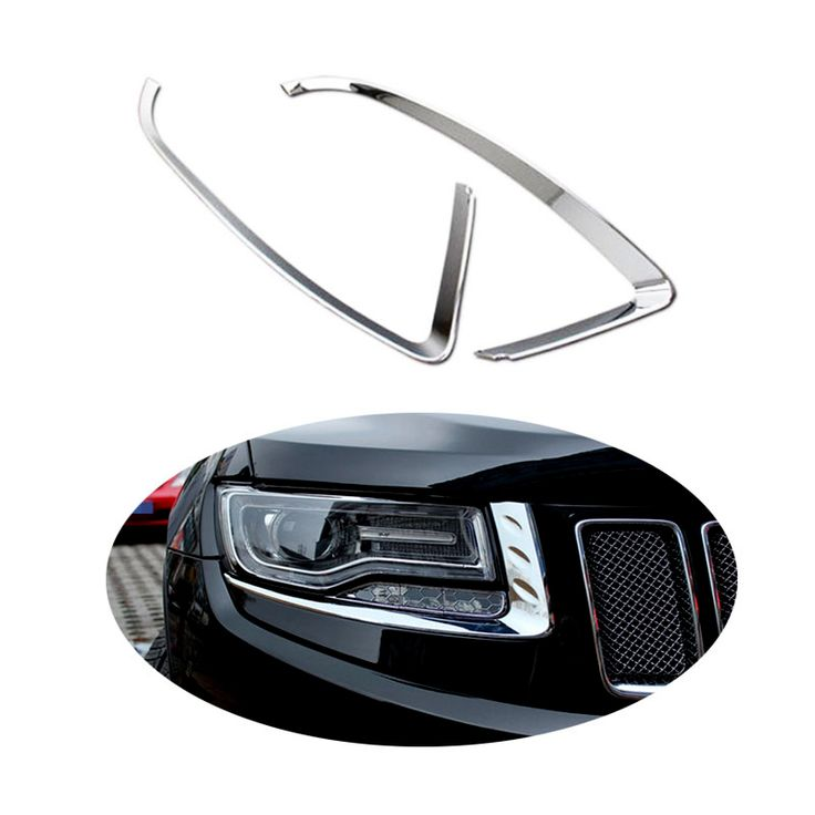 2PCS ABS Chrome Head Light Lamp Eyelid Covers Trim For Jeep Grand Cherokee 2014 2015  #Affiliate