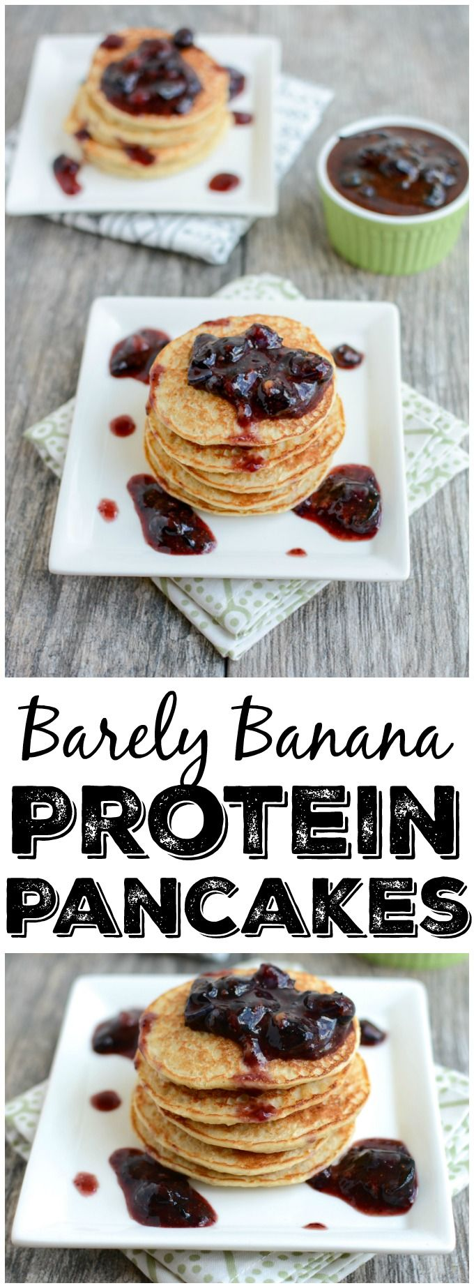 These Barely Banana Protein Pancakes are made with just 4 simple ingredients. They're a kid-friendly breakfast or snack recipe that can be made quickly in the blender!