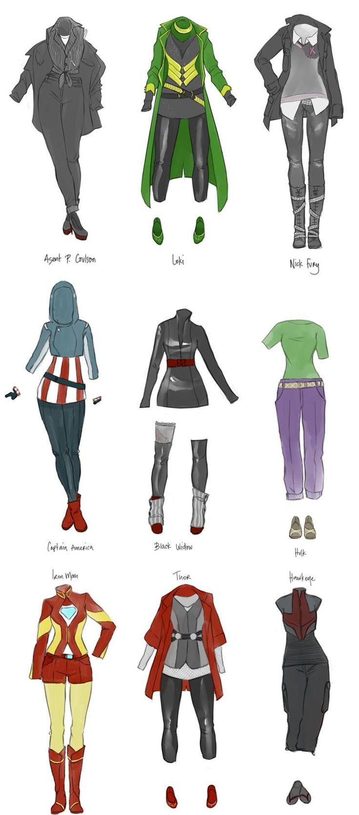 I'm not that big into fashion, but it would be so cool to create one of these outfits! I especially like the iron man one