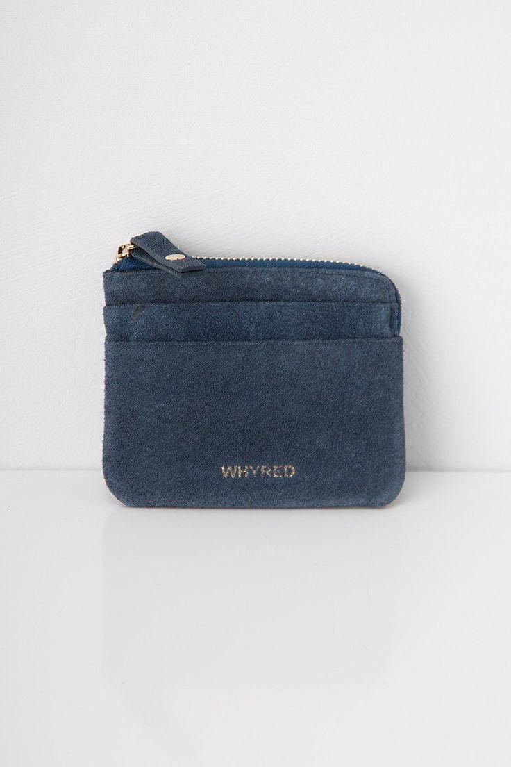 Whyred Peggy lommebok mørk blå semsket skinn tilbehør lommebøker - Floyd.no