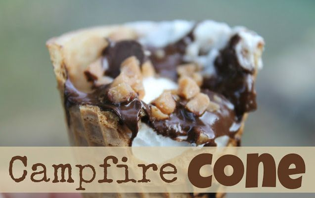 Campfire Cones ~ this S'More uses waffle cone, Skor candy bits, chocolate chips, and marshmallows