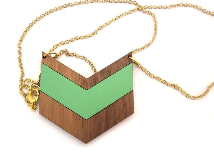 Mint & Chevron Necklace - Laser Cut Wooden Hand Painted Chevron Pendant Necklace