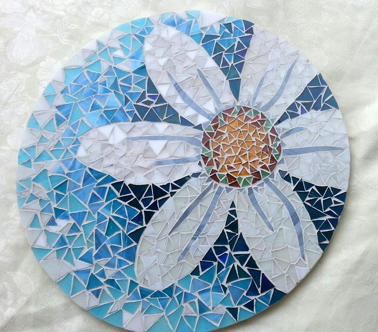 Mosaic Lazy Susan Daisy on Shades of Aqua and Blue 15 1/4 Inch OOAK by HeatherMBC on Etsy