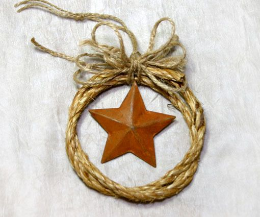 Country Western Cowboy Rope Christmas Ornament with a Rusty Star