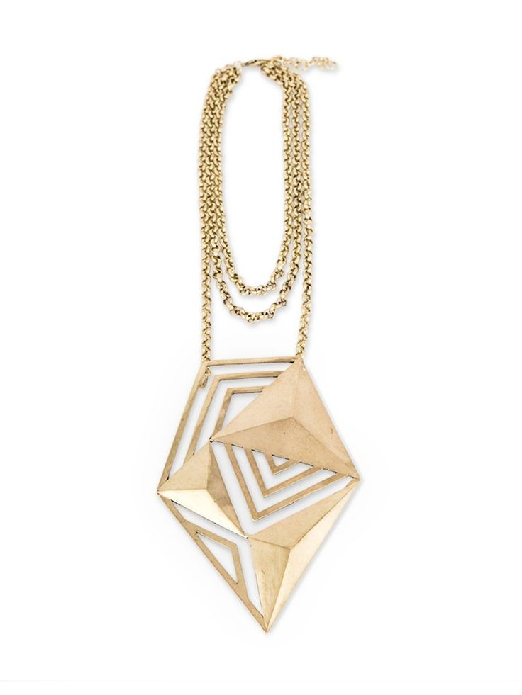 Solid Brass Oversized Geometric Pendant Necklace