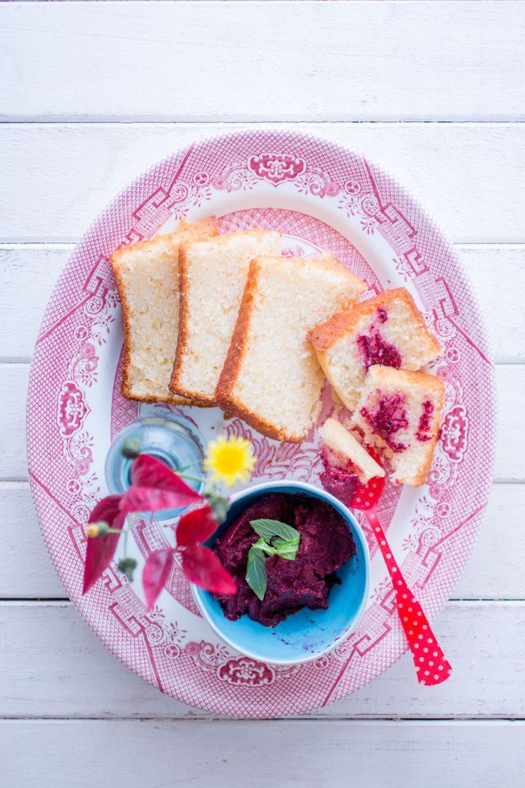 Meyer lemon loaf cake with berry sorbet