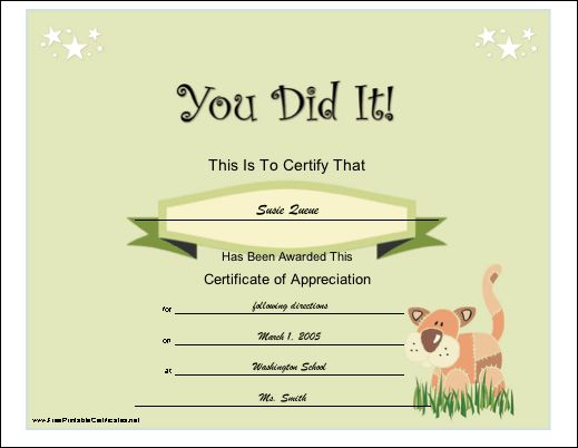 12 best sertifikat images on pinterest printable certificates a general you did it certificate of appreciation for a child illustrated with yelopaper Choice Image