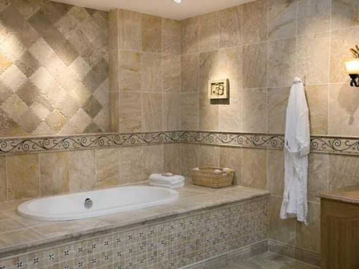 Bathtub Tile Tile Patterns Bathroom Wall Tiles Beige Wood Look