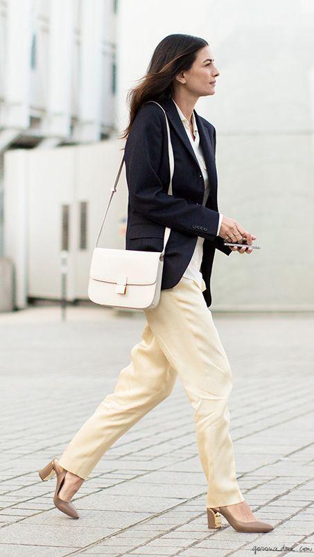 black blazer, cream pants, heels, white purse