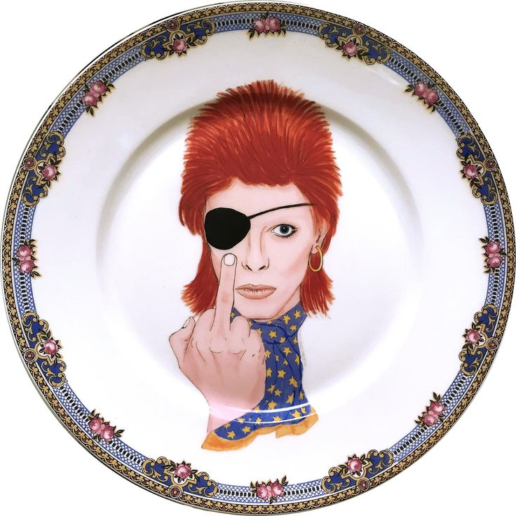 David Bowie - Ziggy Stardust - Watercolor - Vintage Porcelain Plate - #0576 by ArtefactoStore on Etsy