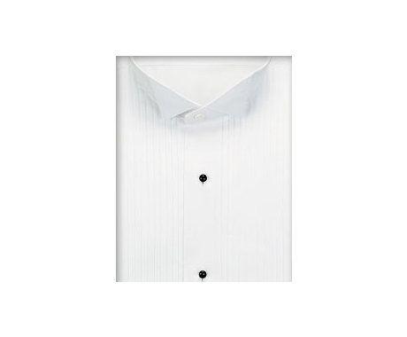 "Mens White 1/8"" White Pintuck Wing Poly Cotton Tuxedo Shirts , Mens Choir Uniforms | Choir-Mart"