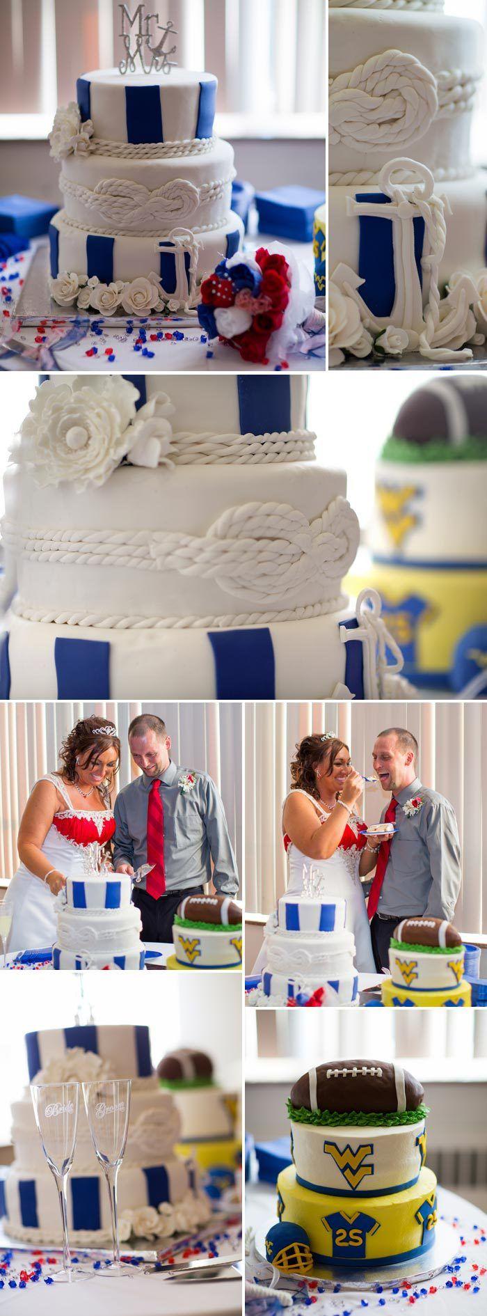 Leckere Hochzeitstorte im maritimen Look, passend zum Hafen der Ehe ...