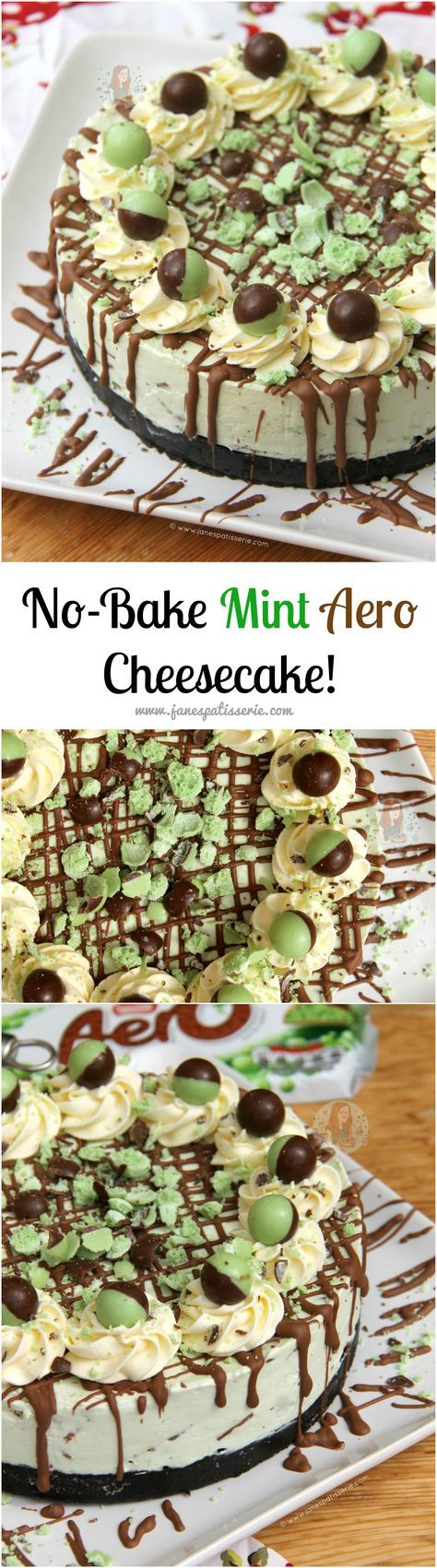 No-Bake Mint Aero Cheesecake!! ❤️ A Creamy, Sweet, and Delicious No-Bake Mint Aero Cheesecake. Mint Oreo base, Mint Aero Cheesecake filling, and even more Mint!