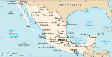 Geography of the Gulf of Mexico: The Gulf of Mexico can be seen in this map of Mexico.